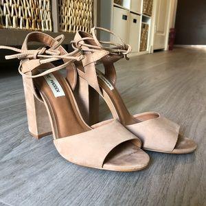 Nude ankle wrap block heels